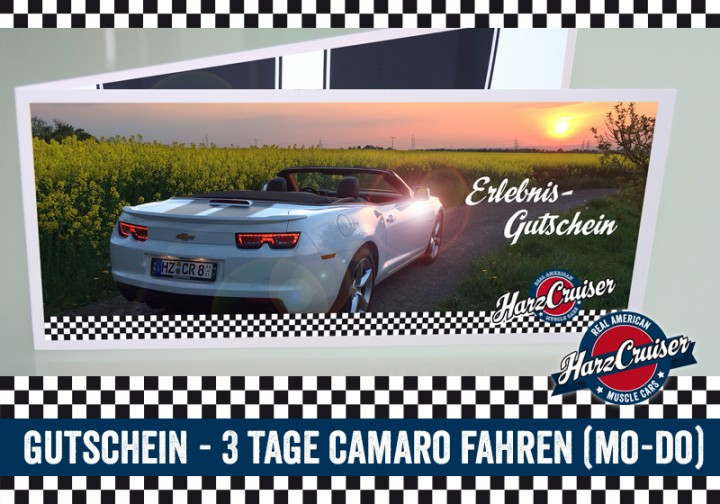 3 Tage (Mo-Do) Camaro fahren (Mo - Do) - Gutschein