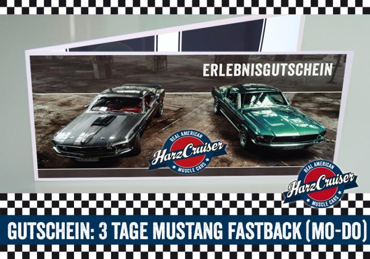 3 Tage (Mo-Do) Mustang Oldtimer Fastback fahren - Gutschein